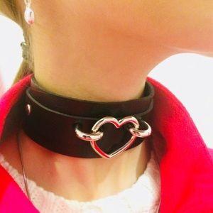 Jewelry - NEW Black Choker Heart Leather Jewelry Necklace